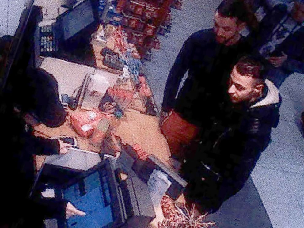 PHOTO: An image taken from a CCTV camera at a petrol station north of Paris, on Nov. 11, 2015 shows Salah Abdeslam a suspect in the Paris attack of November 13, and Mohamed Abrini buying goods.