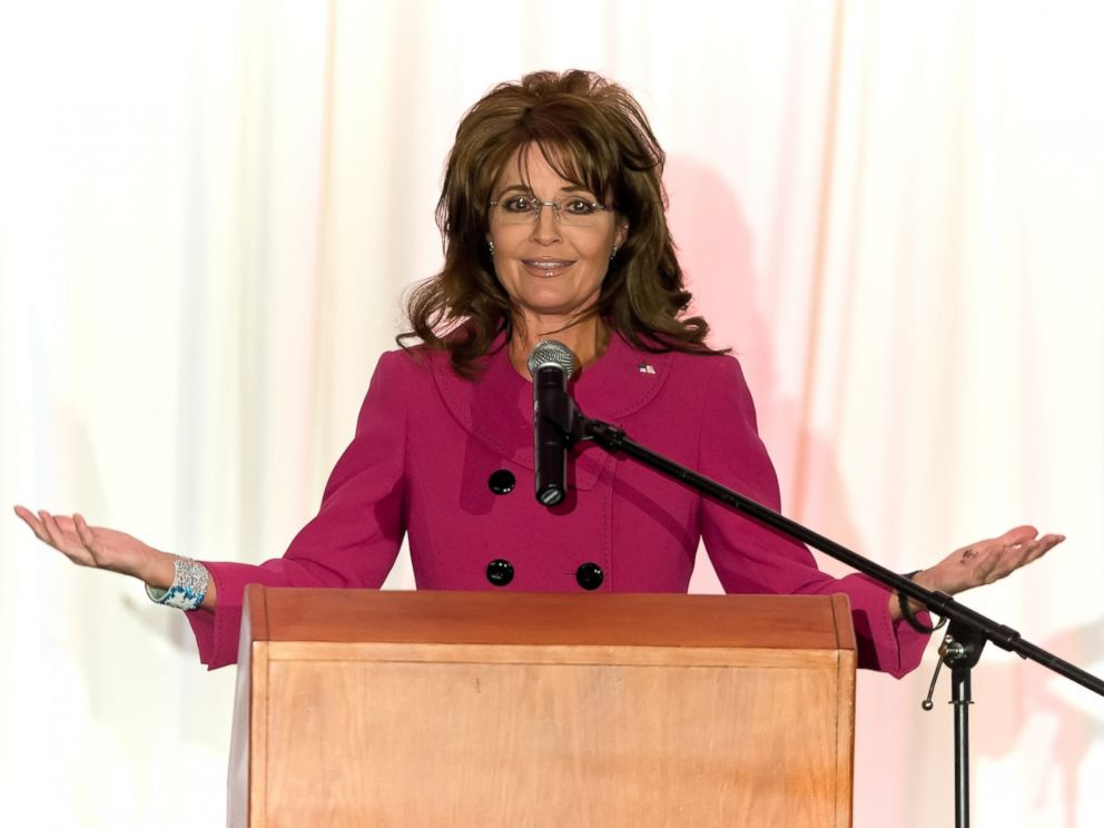 PHOTO: Sarah Palin, former Governor of Alaska, is seen in this April 5, 2013 file photo speaking at Terri Schiavo Life and Hope Network Award Gala in Philadelphia, Penn.