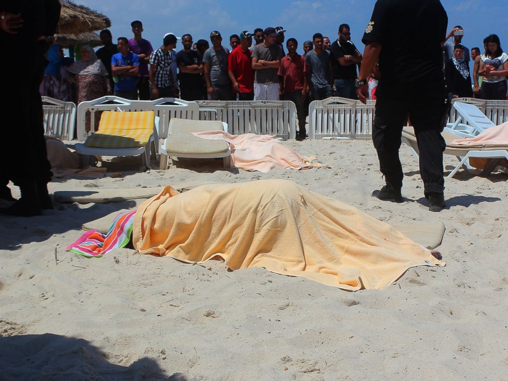 PHOTO: The bodies of people are seen after an armed attack on a tourist hotel in Sousse, Tunisia, left at least 27 people dead, including foreigners, and injured six others , on June 26, 2015.