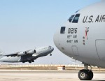 PHOTO: A US military cargo plane takes off at the US transit center Manas, near  Bishkek, Kyrgyzstan, March 27, 2012.