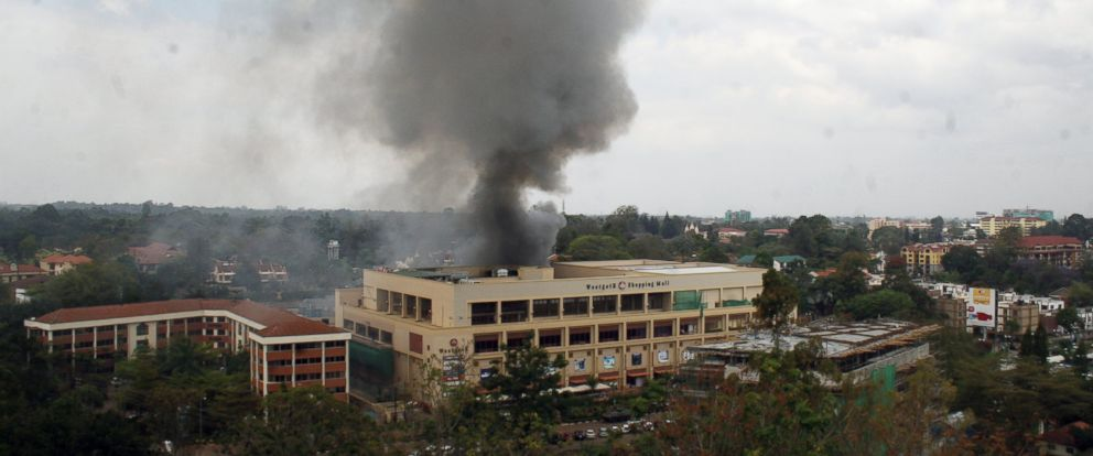 PHOTO: Heavy smoke is seen from the site of the terrorist attack, Westgate Mall, Sept. 23, 2013 in Nairobi, Kenya.