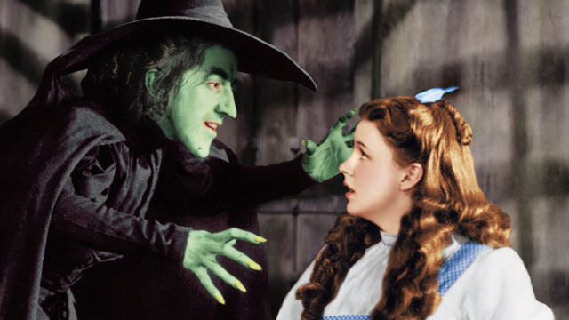 "PHOTO: A publicity shot of Margaret Hamilton as The Wicked Witch, arms extended towards Judy Garland as Dorothy Gale, in Witches Castle from the original 1938 film ""The Wizard of Oz""."