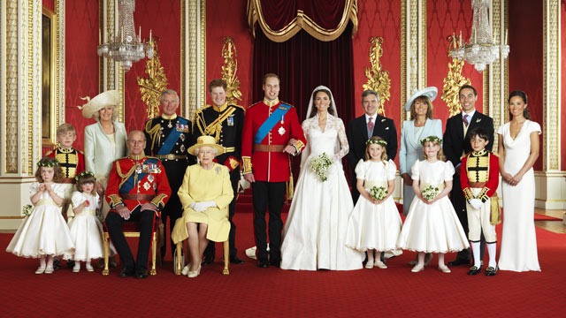 PHOTO: Family and members of the Royal Wedding party are shown in this April 29, 2011 file photo, with Britain's Prince William and Kate, Duchess of Cambridge.