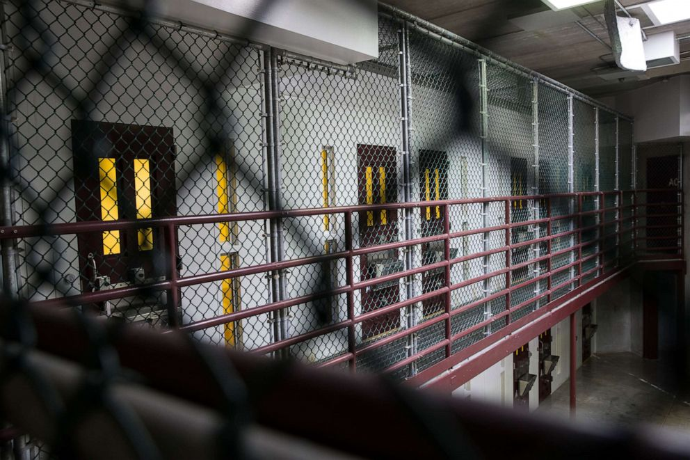 PHOTO: In this photo reviewed by U.S. military officials, an empty Alpha Block of Camp VI is now used to show visitors an example, Wednesday, April 17, 2019, in Guantanamo Bay Naval Base, Cuba.