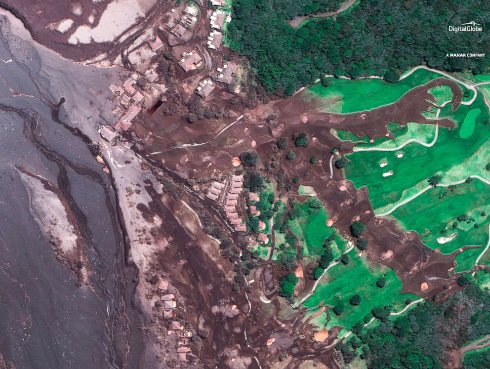 PHOTO: A satellite image of La Reunion Golf Resort, June 6, 2018, three days after the eruption of the Volcan de Fuego, in Escuintla, Guatemala.