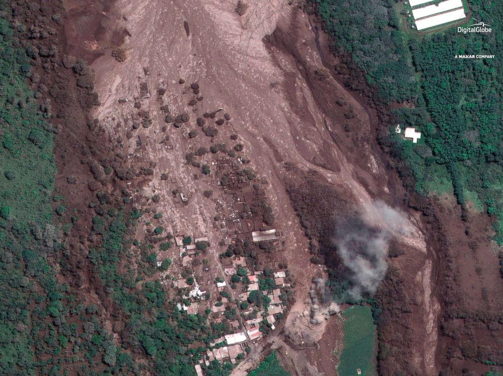 PHOTO: A satellite image of the hamlet of San Miguel Los Lotes, Guatemala, June 6, 2018, after the hamlet was encased in volcanic material following the eruption of the Volcan de Fuego.