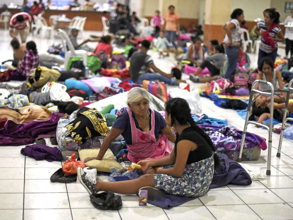 PHOTO: Residents of several communities safeguard in a temporary shelter in Escuintla department, 22 miles south of Guatemala City, June 3, 2018, for fear of new outbursts of the Fuego volcano.