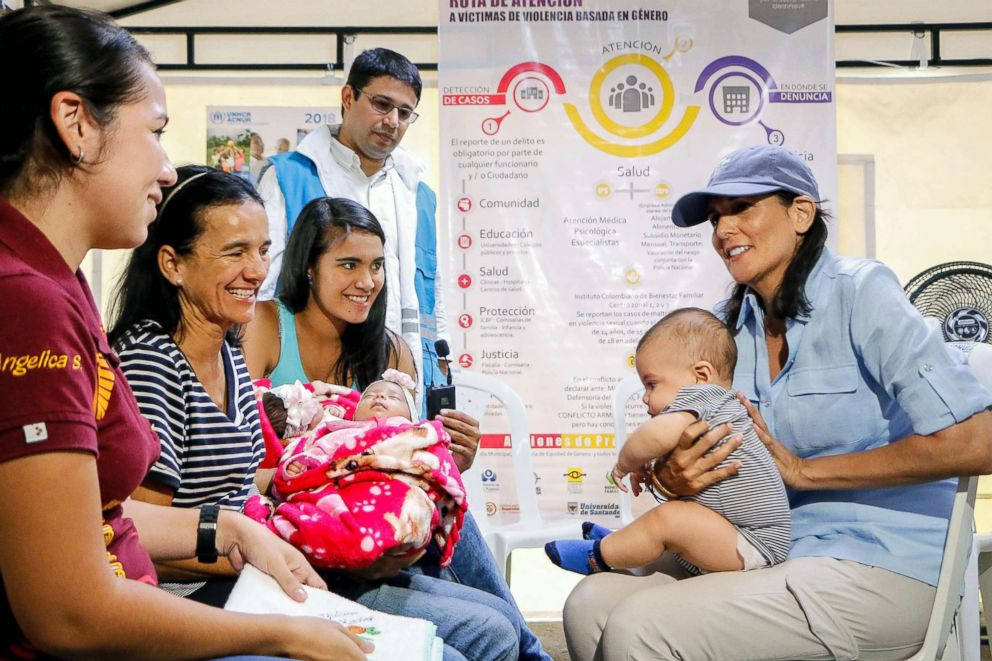 PHOTO: U.S. Ambassador to the United Nations Nikki Haley, right, speaks with Venezuelan migrants in a shelter in Cucuta, Colombia, near the border with Venezuela, August 8, 2018.