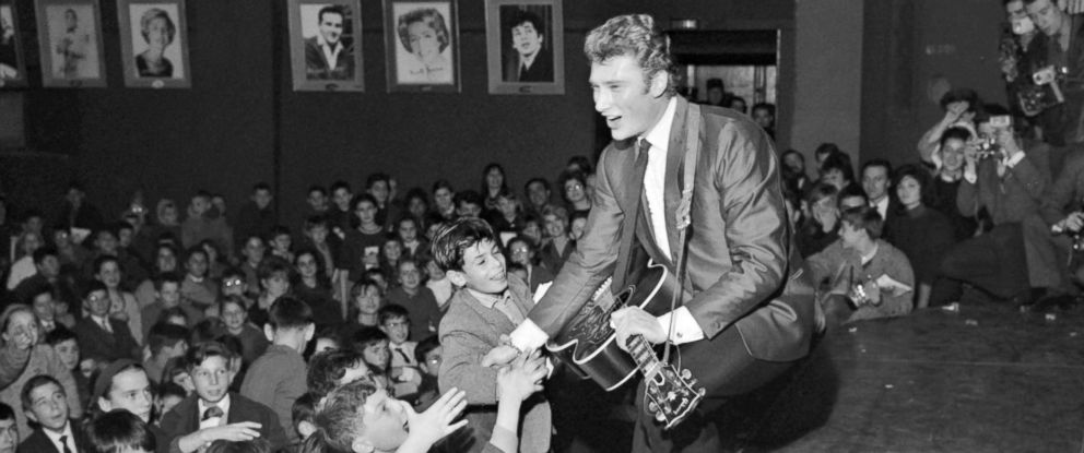 PHOTO: Johnny Hallyday performs a concert at the Olympia hall in Paris, Dec.13, 1962.