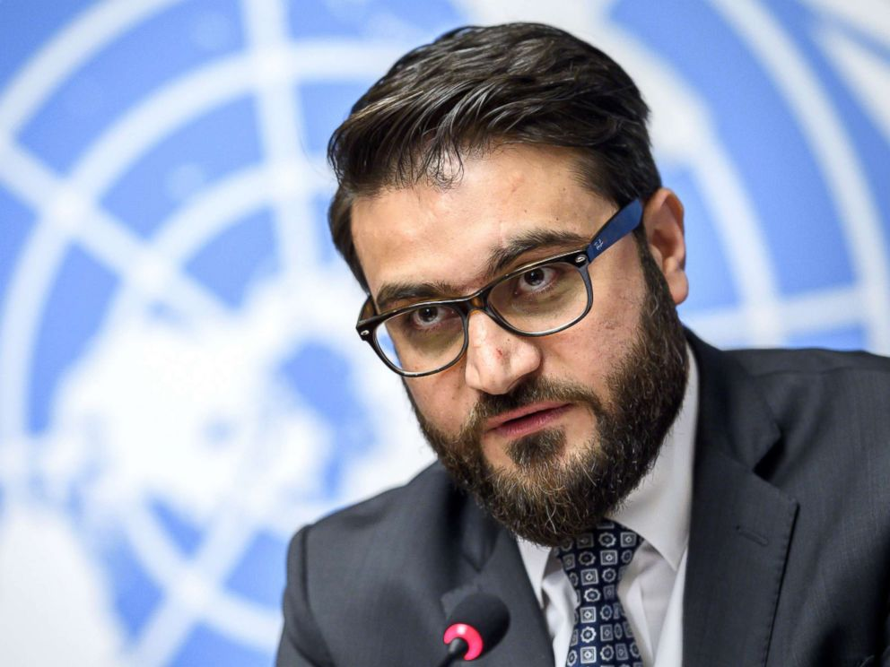 Adviser Hamdullah Mohib attends a press conference closing a two-day United Nations Conference on Afghanistan in Geneva Nov. 28 2018
