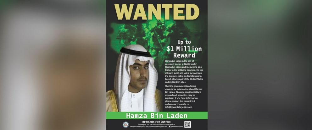 PHOTO: The United States is offering a reward of up to $1 million for information on the whereabouts of Hamza bin Laden.