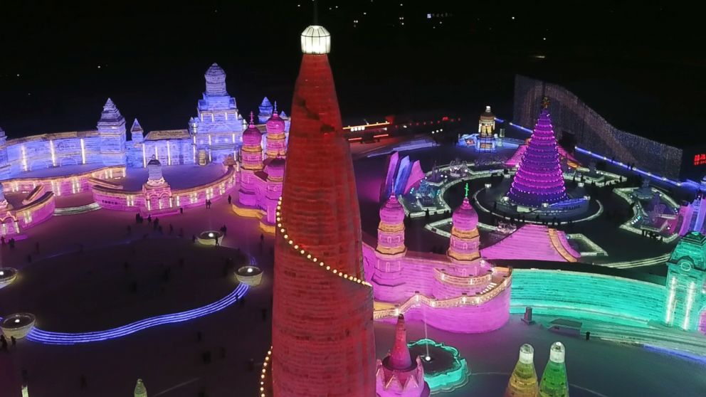 PHOTO: A view from above at night of the Harbin International Ice and Snow Festival.