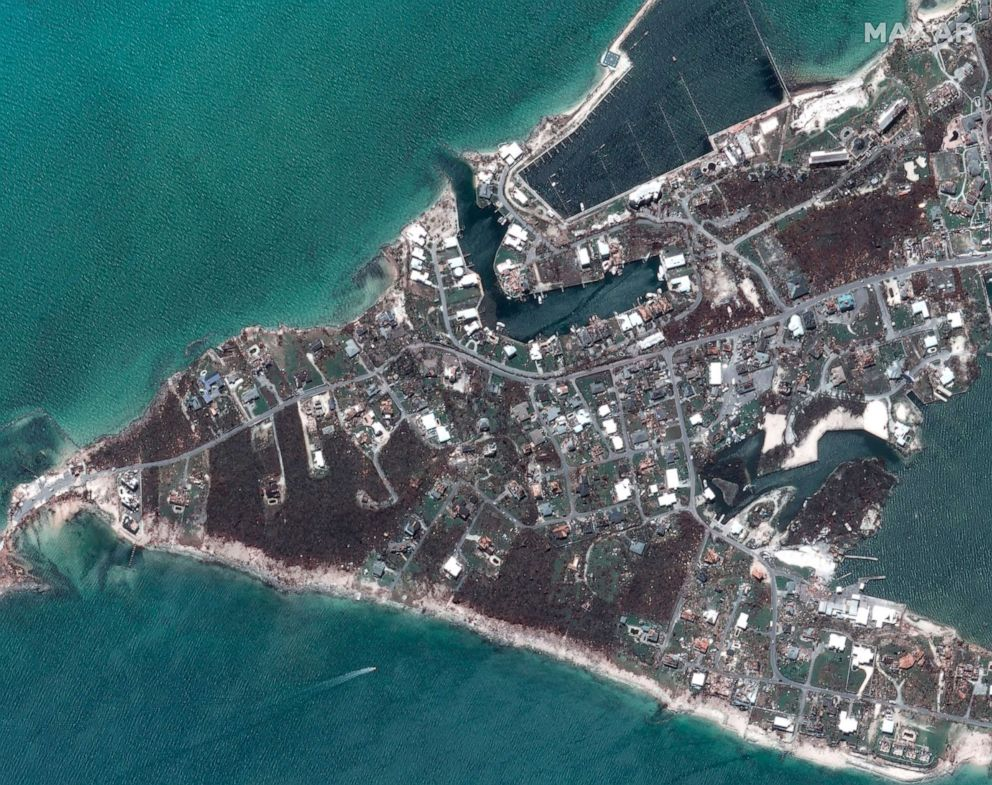 PHOTO: After Hurricane Dorian struck Marsh Harbor marinas on Great Abaco, Bahamas in a satellite photo taken Sept. 5, 2019.