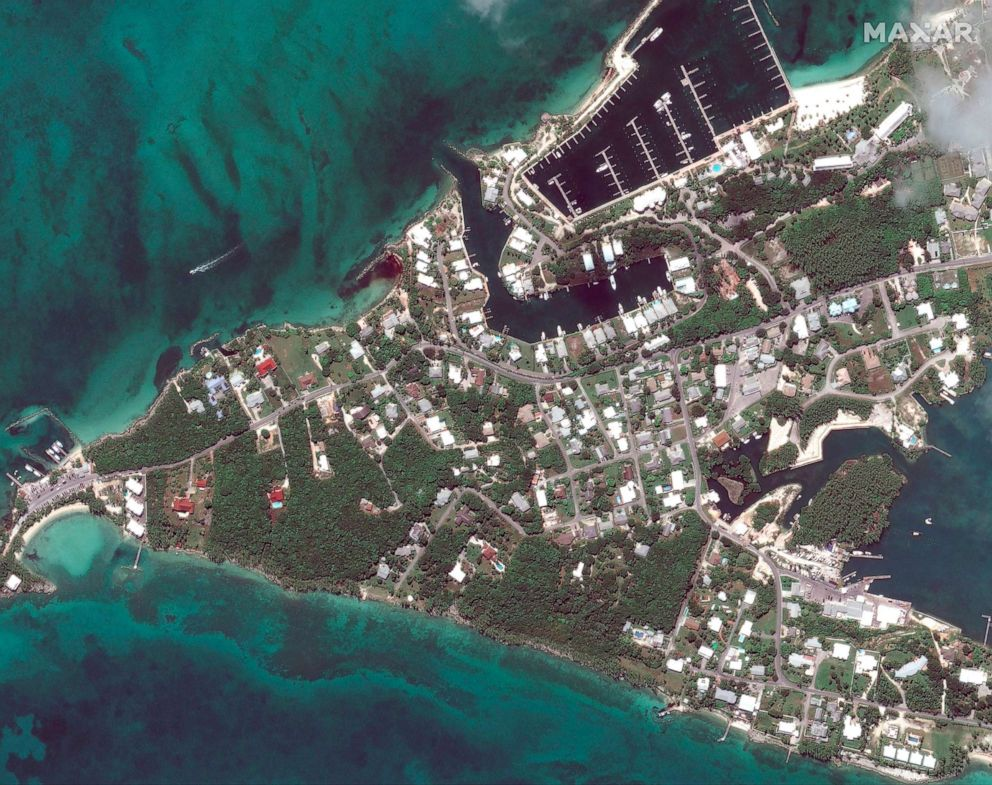 PHOTO: Before Hurricane Dorian struck Marsh Harbor marinas on Great Abaco, Bahamas in a satellite photo taken Oct. 25, 2018.