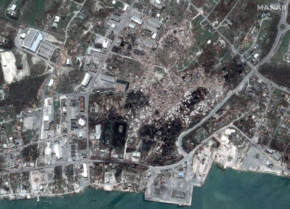 PHOTO: After Hurricane Dorian struck downtown Marsh Harbour on Great Abaco Island, Bahamas, in a satellite image taken Sept. 5, 2019.