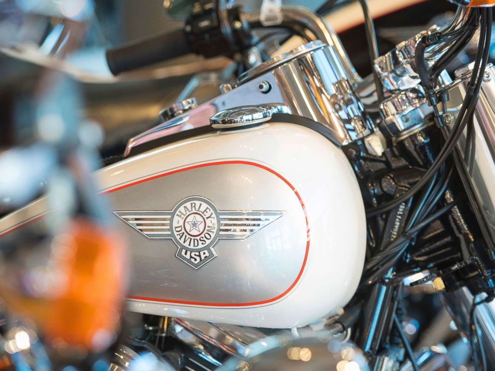 PHOTO: A general view of a Harley Davidson motorcycle, one of a number of US products set to be affected as European Unions retaliatory tariffs come into force today, June 22, 2018.  Whiskey, Harley prices expected to jump in Europe as tariffs take effect harley davidson tariffs ap thg 180622 hpMain 4x3 992