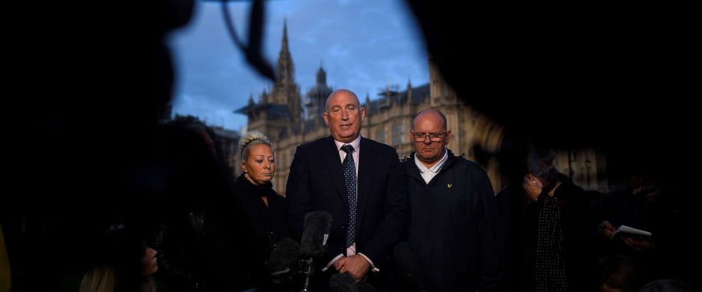 PHOTO: Family spokesman Radd Seiger speaks to the media on behalf of Harry Dunns parents, Tim Dunn and Charlotte Charles, after meeting with U.K. Foreign Secretary Dominic Raab in London, England, Oct. 9, 2019.