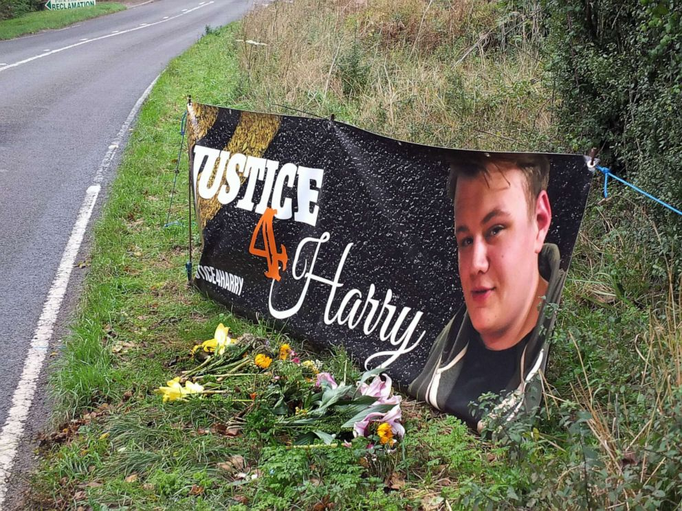 PHOTO: In this Oct. 15, 2019, file photo, a banner is shown near the RAF Croughton airbase in Northamptonshire, England, where Harry Dunn died when riding his motorcycle from his home.