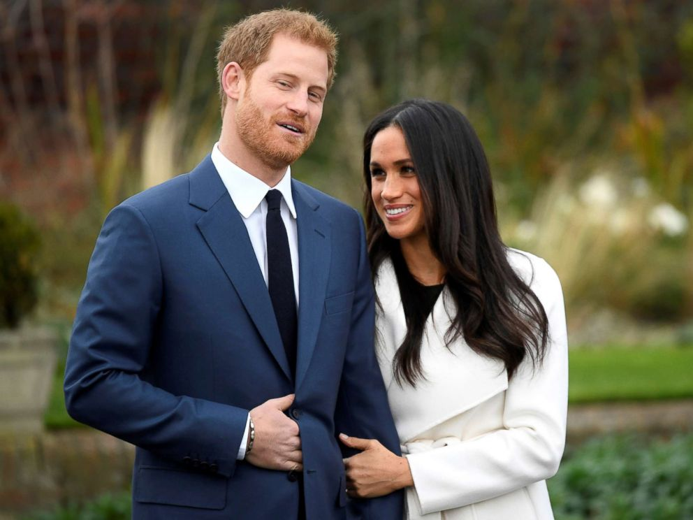 PHOTO: Britains Prince Harry poses with Meghan Markle in the Sunken Garden of Kensington Palace, London, Nov. 27, 2017.