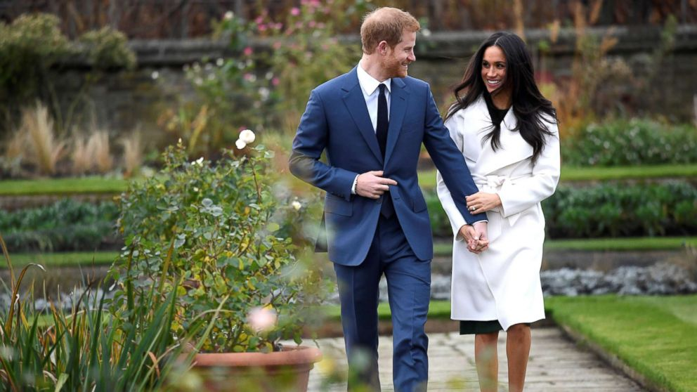 Britain's Prince Harry arrives with Meghan Markle for their engagement announcement at Kensington Palace, London, Nov. 27, 2017.