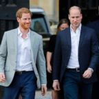 Britain's Prince Harry and his best man Prince William step out to greet well-wishers outside Windsor Castle, May 18, 2018, the eve of Prince Harry's wedding to  Meghan Markle, May 18, 2018.