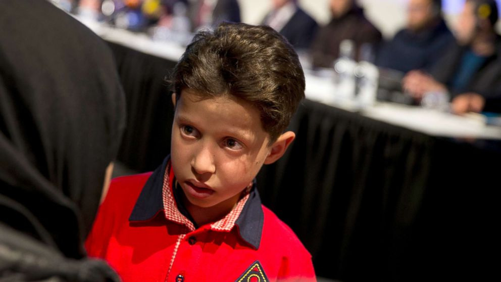 Hasan Diab, 11, during a press conference at The Hague, Netherlands, April 26, 2018.