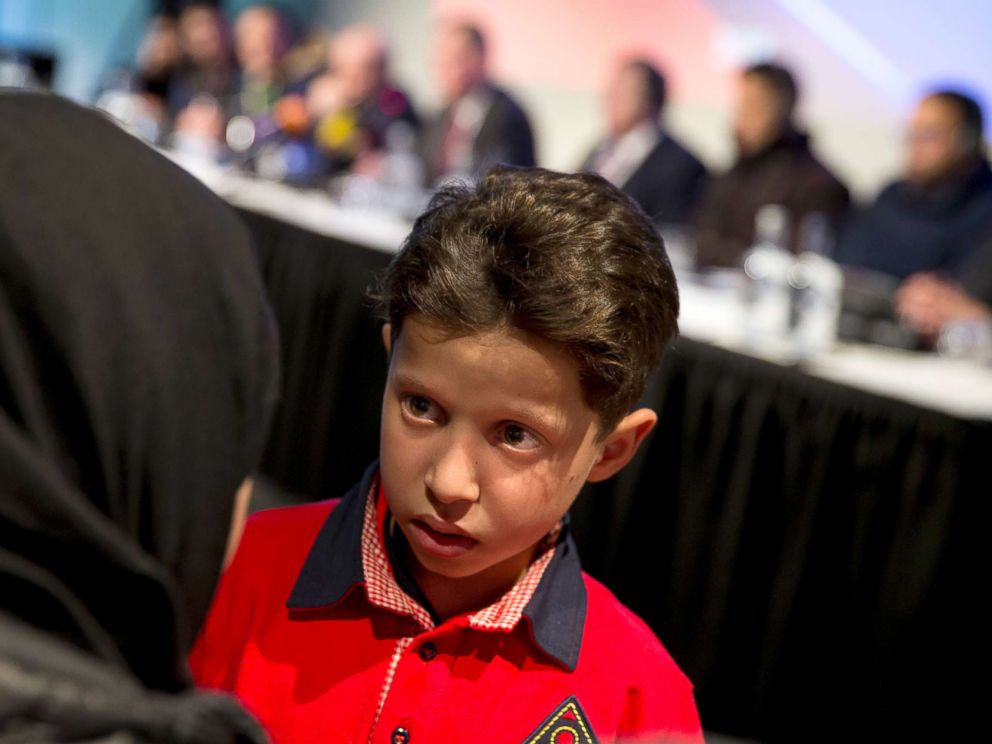 PHOTO: Hasan Diab, 11, during a press conference in The Hague, Netherlands, April 26, 2018.