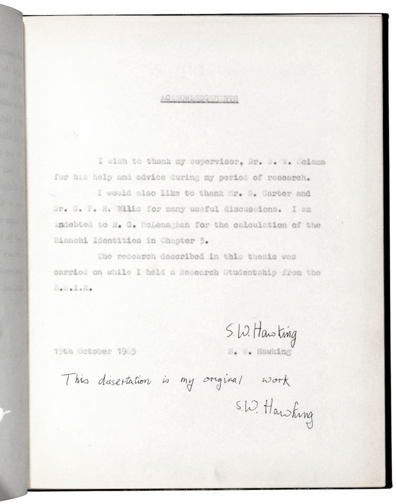 PHOTO: This dissertation is my original work: one of five known editions of the Hawking Doctoral Thesis.