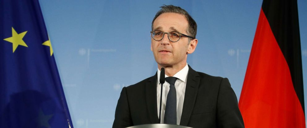 PHOTO: German Foreign Minister Heiko Maas gives a statement, May 9, 2018, in Berlin after US President Donald Trump pulled the United States out of a landmark deal curbing Irans nuclear program and reimposed crippling sanctions.