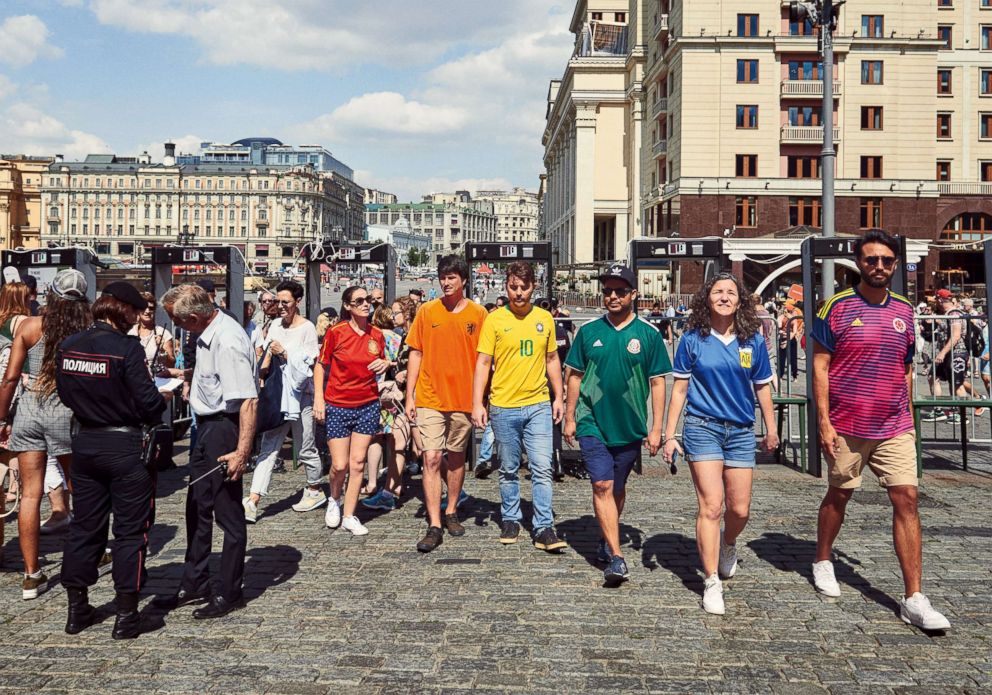 PHOTO: Six people subtly protested Russias anti-gay propaganda law by wearing the colors of the rainbow pride flag during World Cup celebrations in Moscow.