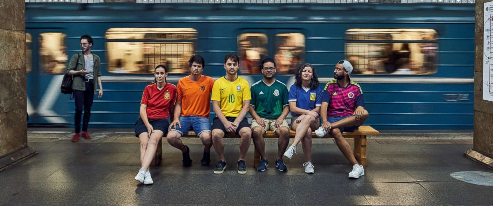 "PHOTO: Six people subtly protested Russias ""anti-gay propaganda law"" by wearing the colors of the rainbow pride flag during World Cup celebrations in Moscow."