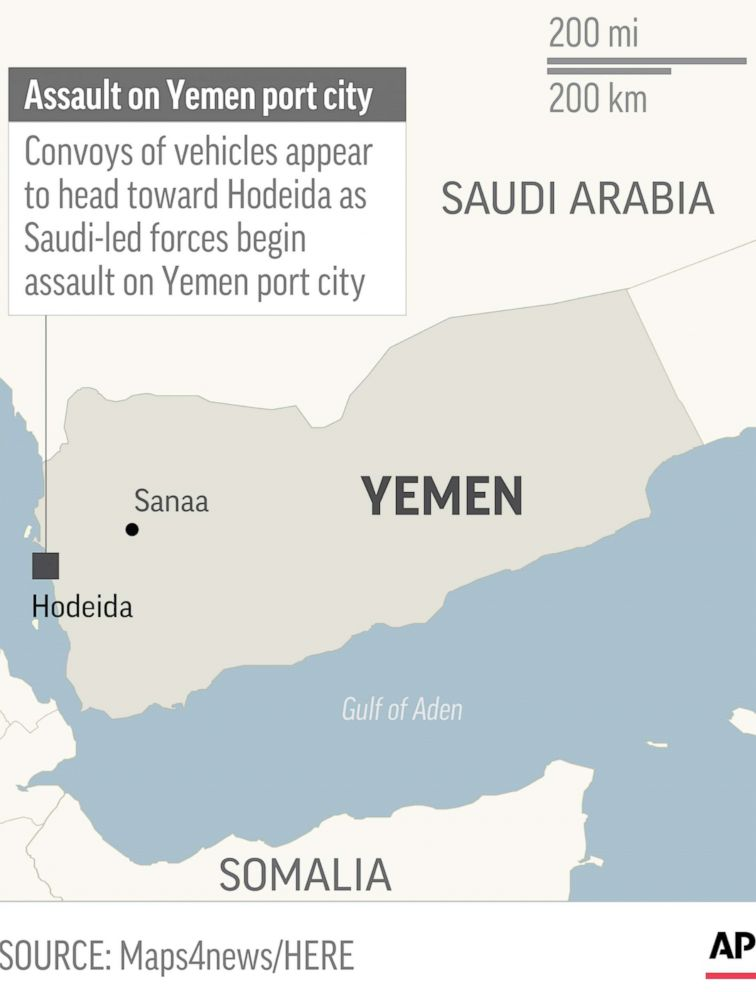 PHOTO: Map locates Hodeida, Yemen, where Saudi-led forces began assault.