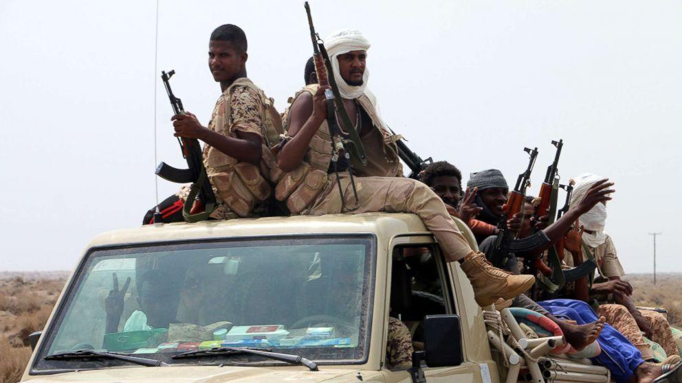 Sudanese forces fighting alongside the Saudi-led coalition in Yemen gather near the outskirts of the western port city of Hodeidah, Yemen, June 12, 2018.