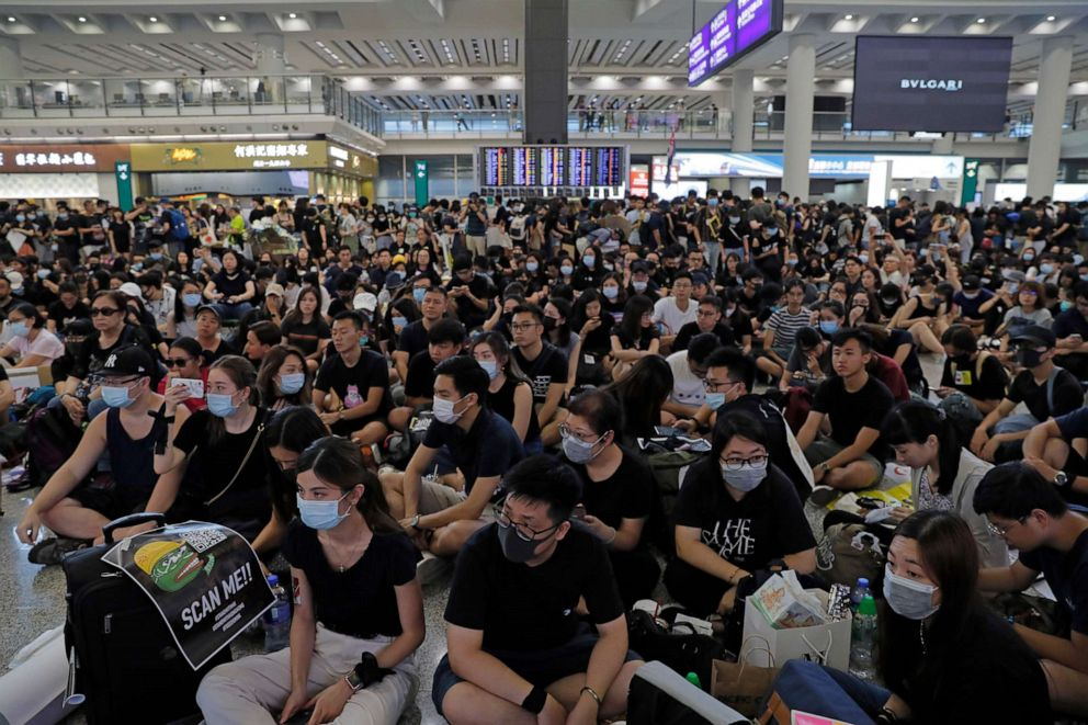 PHOTO: Thousands take part in a second day of sit-in protest at the airport in Hong Kong on Saturday, Aug. 10, 2019.