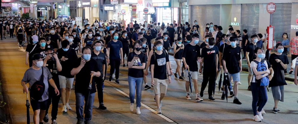 PHOTO: Protesters march in Hong Kong on July 7, 2019