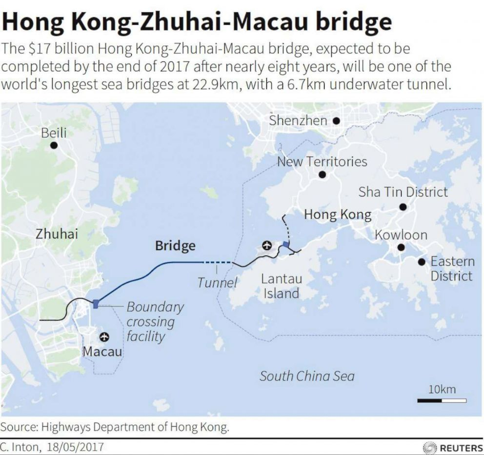 Zhuhai China Map China opens world's longest sea bridge and tunnel to connect Hong