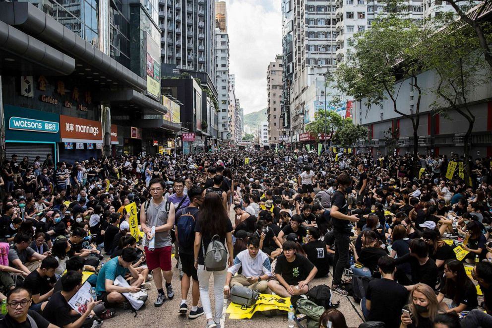 PHOTO: Protesters gather in Mong Kok during a general strike, Aug. 5, 2019, in Hong Kong as simultaneous rallies were held across seven districts.