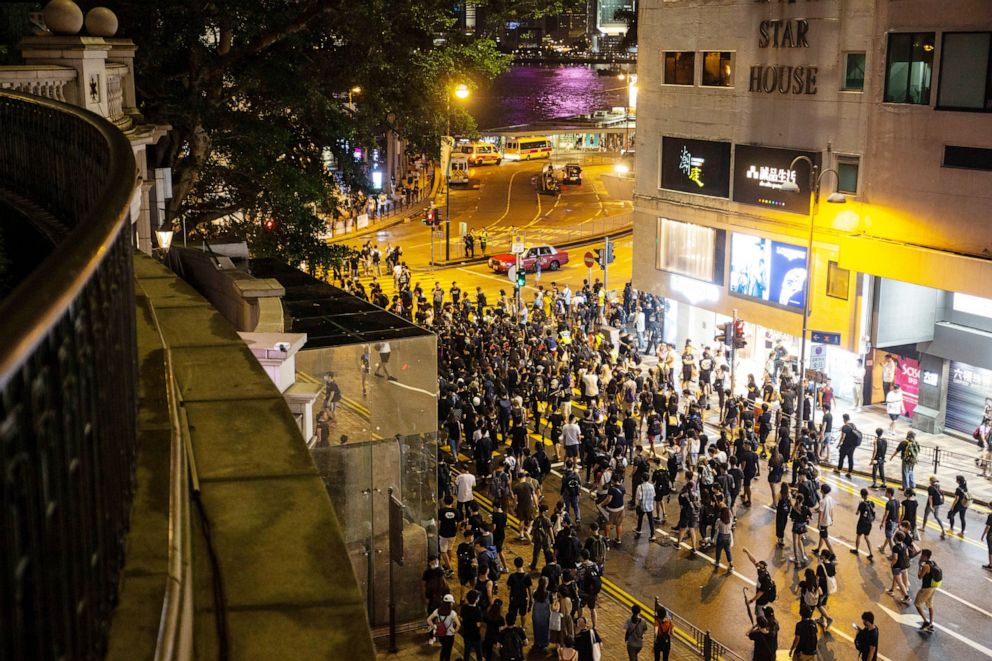 PHOTO: Anti-extradition bill protesters occupy a road after a march in Hong Kong, China, July, 07 2019.