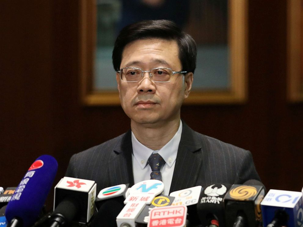 PHOTO: Secretary of Security John Lee Ka-Chiu announces the withdrawal of the extradition bill, in Hong Kong, Oct. 23, 2019.