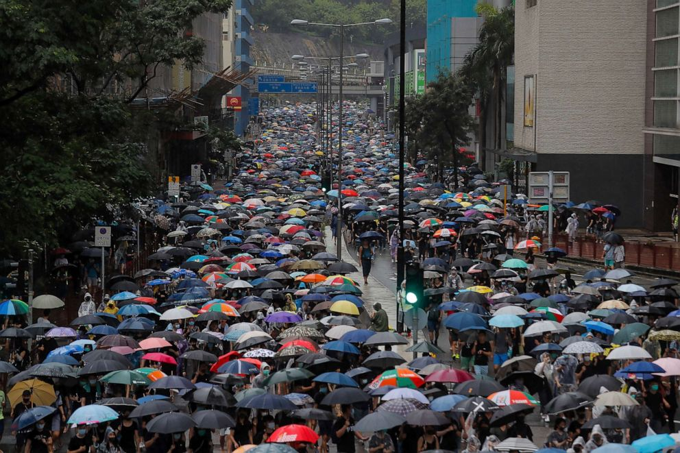 PHOTO: Thousands of demonstrators march in the rain in Hong Kong, Aug. 25, 2019.