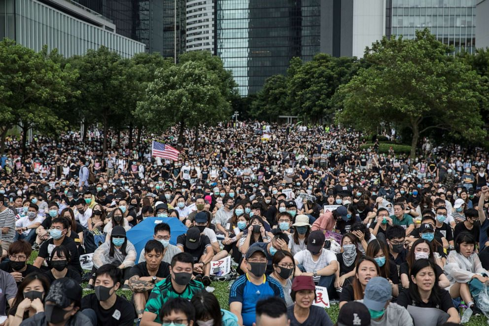 PHOTO: Protesters take part in a school boycott rally at Tamer Park on September 2, 2019, in Hong Kong, on September 02, 2019.