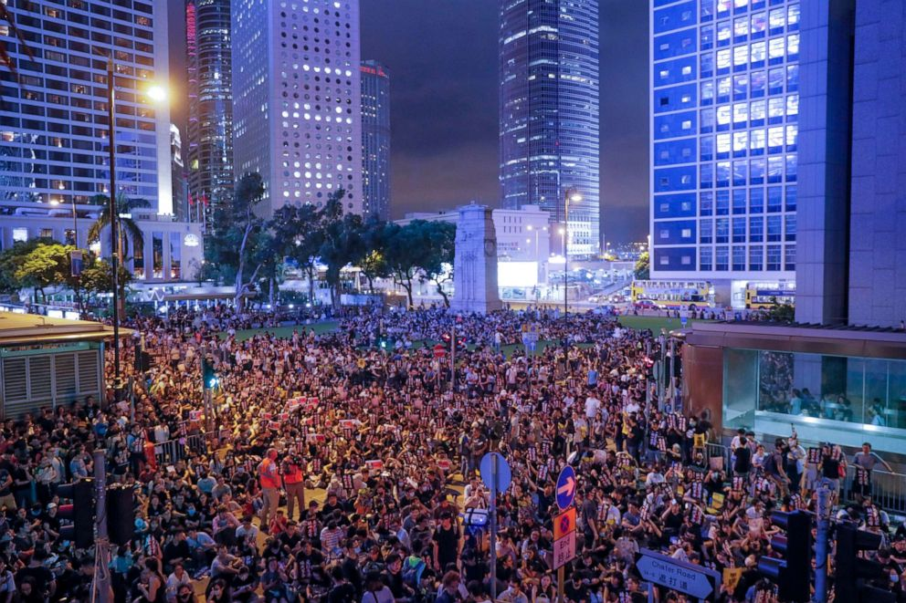 PHOTO: Pro-democracy protesters gather to participate in a rally organized by higher education students in Chater Garden in Hong Kong, Aug. 16, 2019.