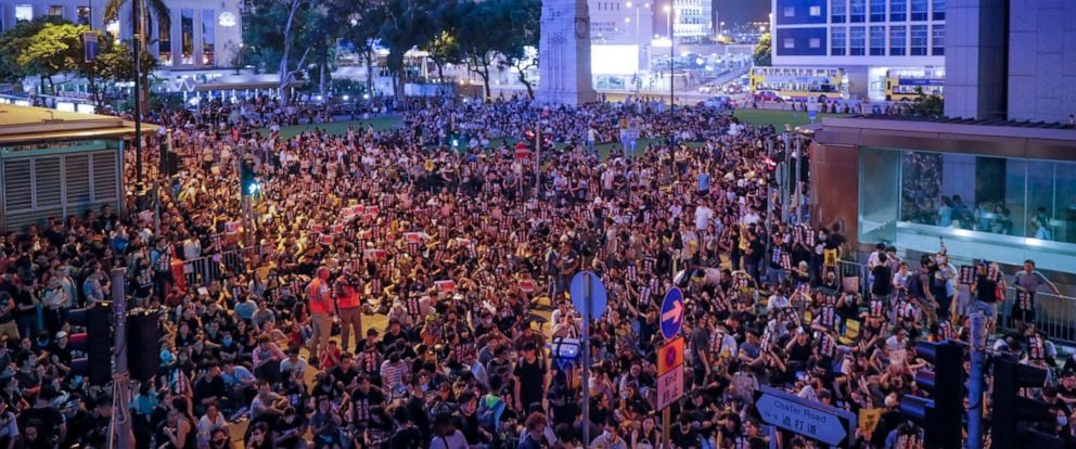 PHOTO: Pro-democracy protesters gather to participate in a rally organized by higher education students in Chater Garden in Hong Kong, Friday, Aug. 16, 2019.
