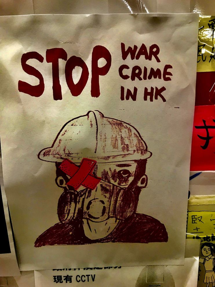 PHOTO: In this undated photo, protest art is displayed at the Tai Po Lennon tunnel in Hong Kong.
