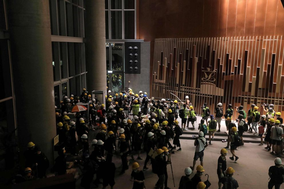 PHOTO: Protesters storm into the government headquarters in Hong Kong on July 1, 2019.