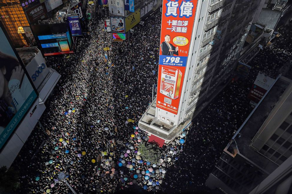 PHOTO: Ten of thousands of protesters flood the streets during a rally in Hong Kong, July 1, 2019.
