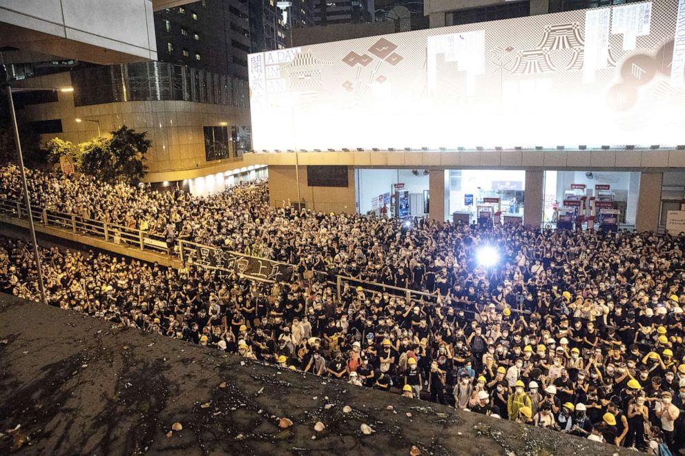 PHOTO: Protesters attend a rally outside the Wanchai Police headquarters in Hong Kong, June 21, 2019.