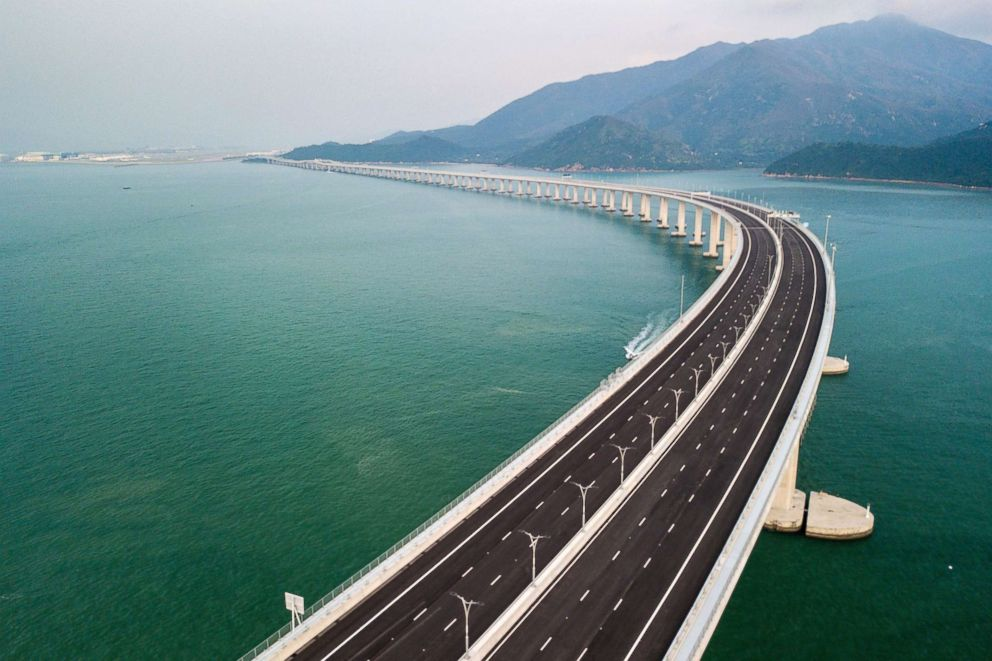 PHOTO: An aerial view taken, Oct. 22, 2018, shows a section of the Hong Kong-Zhuhai-Macau Bridge (HKZM) in Hong Kong.