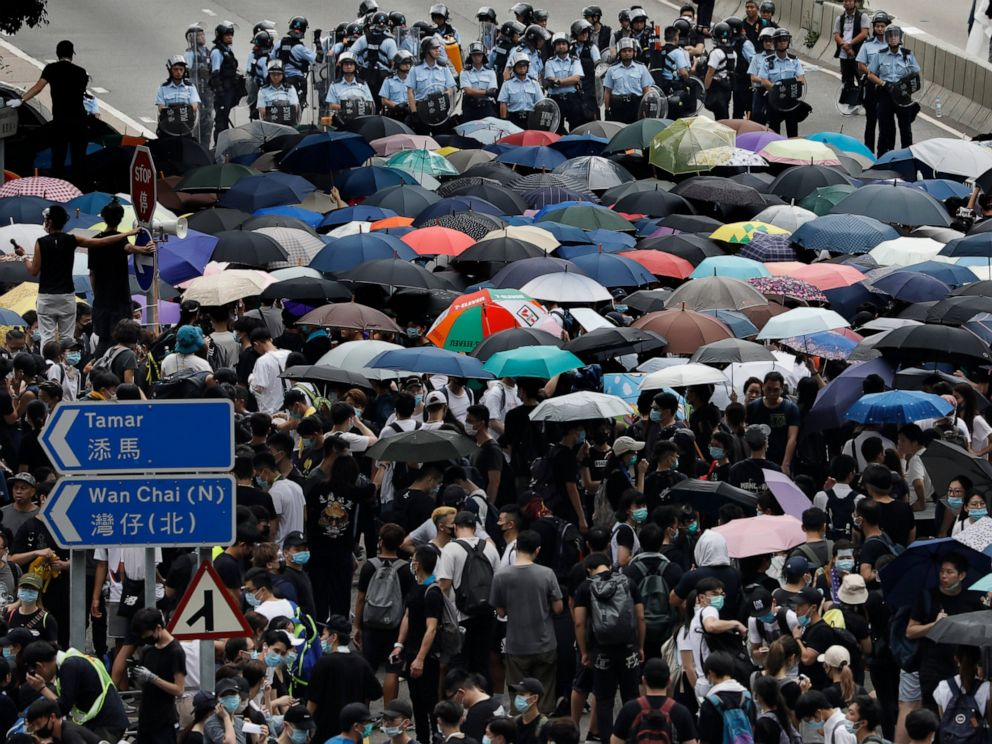 PHOTO: Protesters gather outside the Legislative Council in Hong Kong, Wednesday, June 12, 2019.