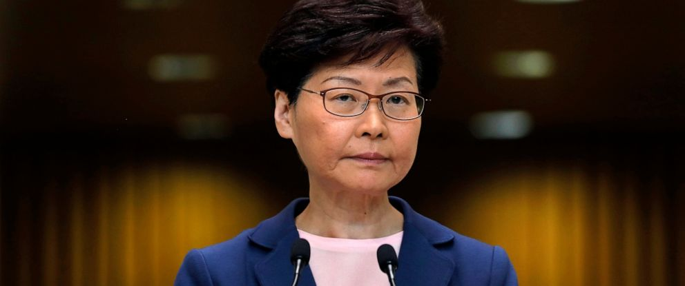 PHOTO: Hong Kong Chief Executive Carrie Lam pauses during a press conference in Hong Kong, Tuesday, July 9, 2019.